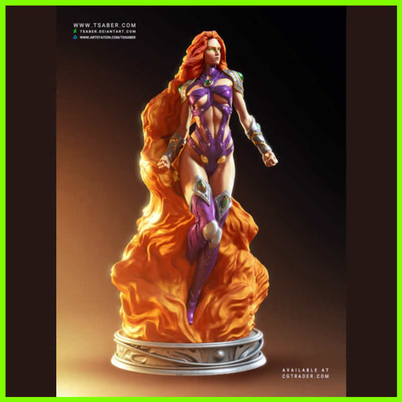 Starfire DC Statue - STL File for 3D Print - indymodel88