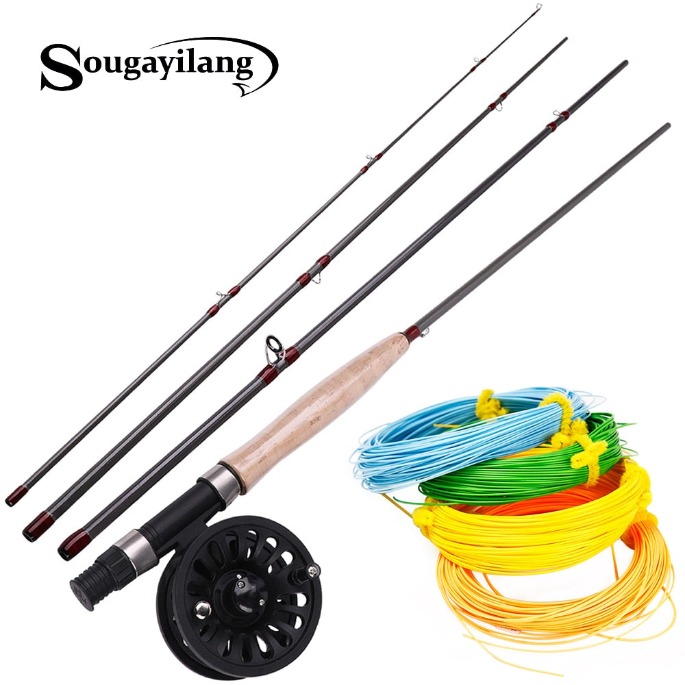 Sougayilang 8.8ft 4 Section Fly Fishing Rod and Fly Reel 4F 100FT  Fly Fishing LineCombo .