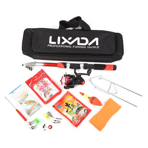 Lixada fishing Rod Set, Telescopic Sea Rod Spinning Reel, Baits, Hooks, Fishing Bag Kit