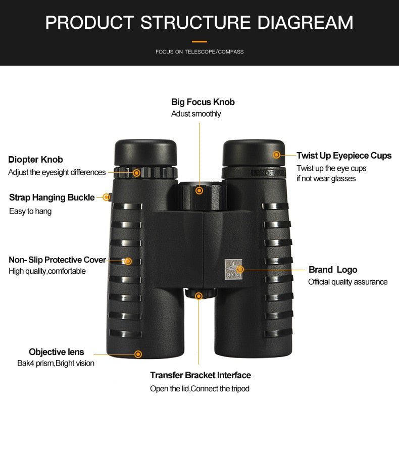 10x42  Asika HD Binoculars with Neck Strap Carry Bag