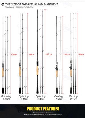 SeaKnight Falcon 2 Sections Carbon Rod 6.5ft to 7.87ft Fishing Rod 2 Tips M&ML M&MH Power