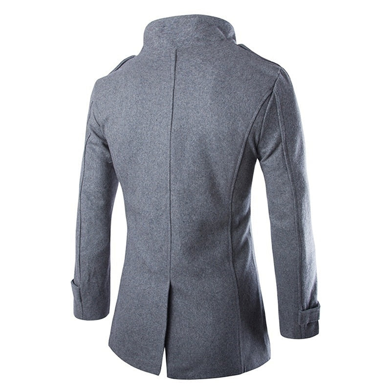 Autumn Winter Woolen Coat Double Breasted Outerwear Male  3XL