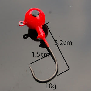 10pcs/set Fishing Hook Colorful Lead Round Jig Head set