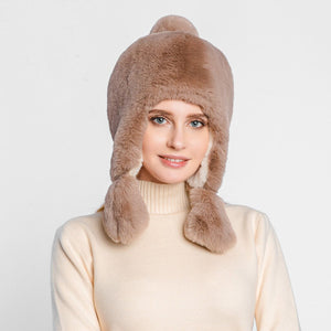 Ladies Winter Plush Fake Thick fur hat with Ear Protectors
