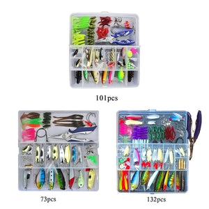 Fishing Lures Set Mixed Minnow/Popper Fish Lure Box 73/101/132pcs