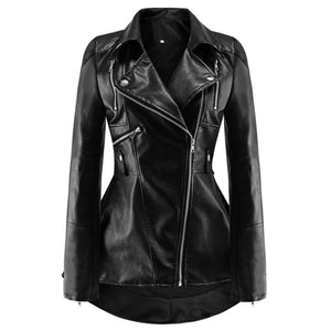 Peatheu Womens  Solid Black Leather Female Overcoat