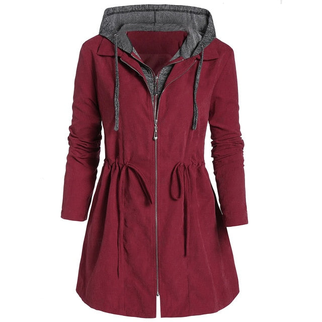 Plus Size Womens  Windproof  Winter Overcoat D40