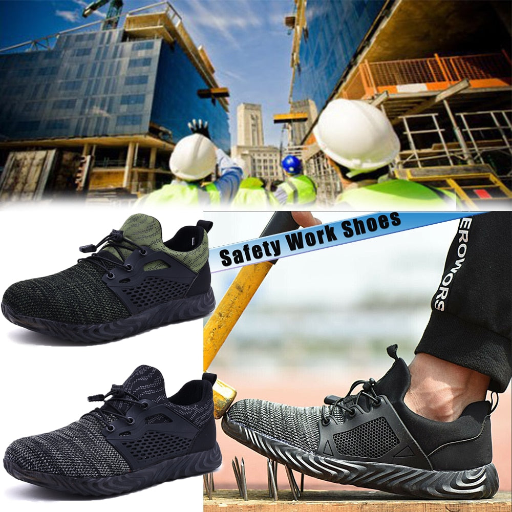 Men's Non Slip Work Shoes Mesh Anti Smashing Puncture Proof Safety ShoesD25