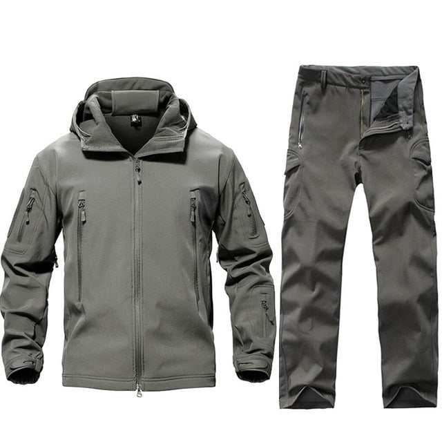 TACVASEN Men Tactical Uniforms Waterproof Softshell Pants Fleece Jackets Set