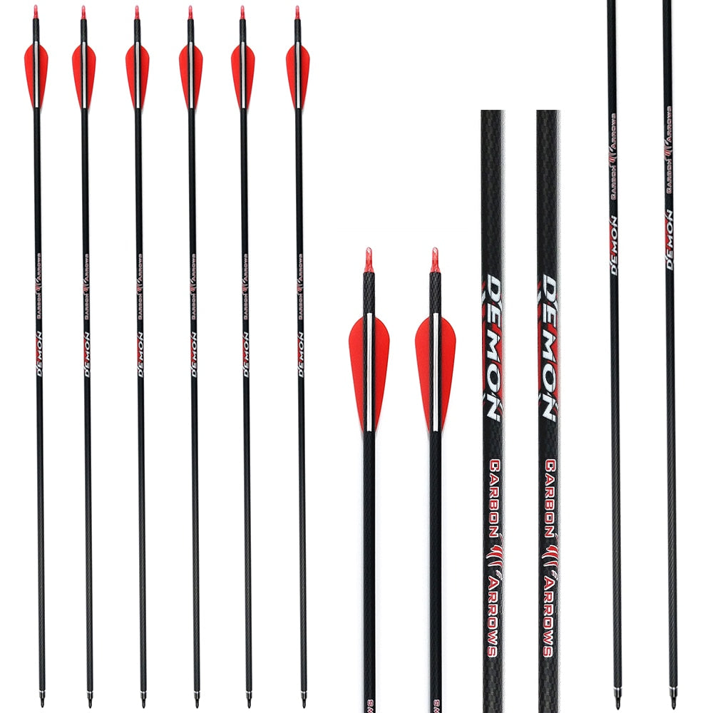 Carbon Arrows Hunting Target Archery Shooting Spine 340/600 with 100 Grain Field Tips