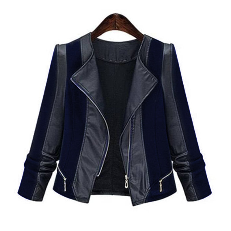 Womens Leather Jacket 5XL Patchwork  Overcoat Coat  Ladies  D20