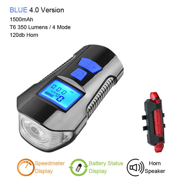 Bicycle Light Computer Speedometer Lights USB Rechargeable