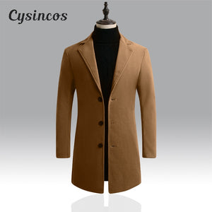 CYSINCOS  Windbreaker Brand Men's High-quality Wool Coat Outwear