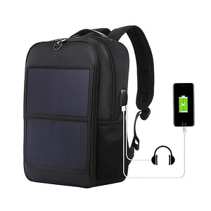 New Men's Bag Waterproof Nylon Solar Charging Backpack