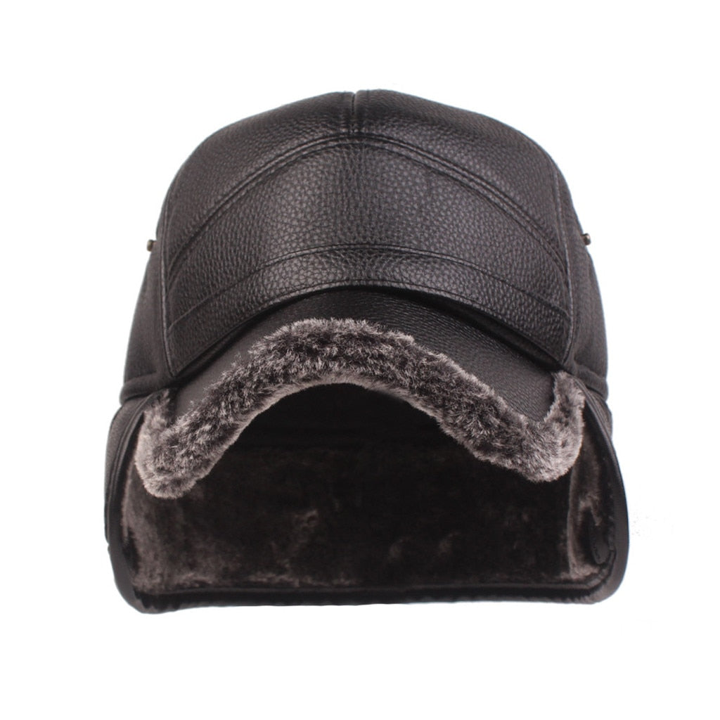 Men and Women Leather Winter Hats With Ear Flap Protection