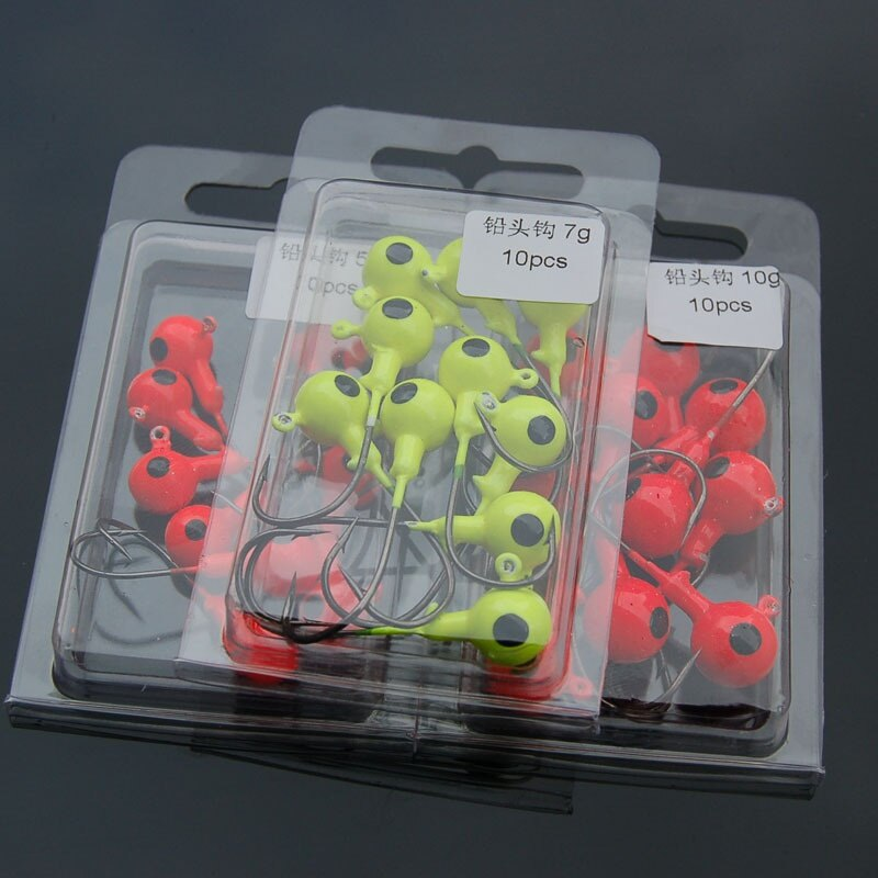 10pcs/set  Colorful Lead Round Jig Head Fish Hooks