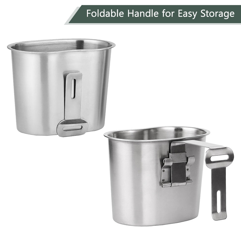 2pcs Stainless Steel Military Canteen