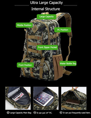 Mochila 50L Waterproof Hiking Hunting Backpack