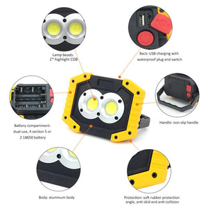 New LED COB Safety Flood Light  USB Rechargeable 30W  Camping Night Work Equipment