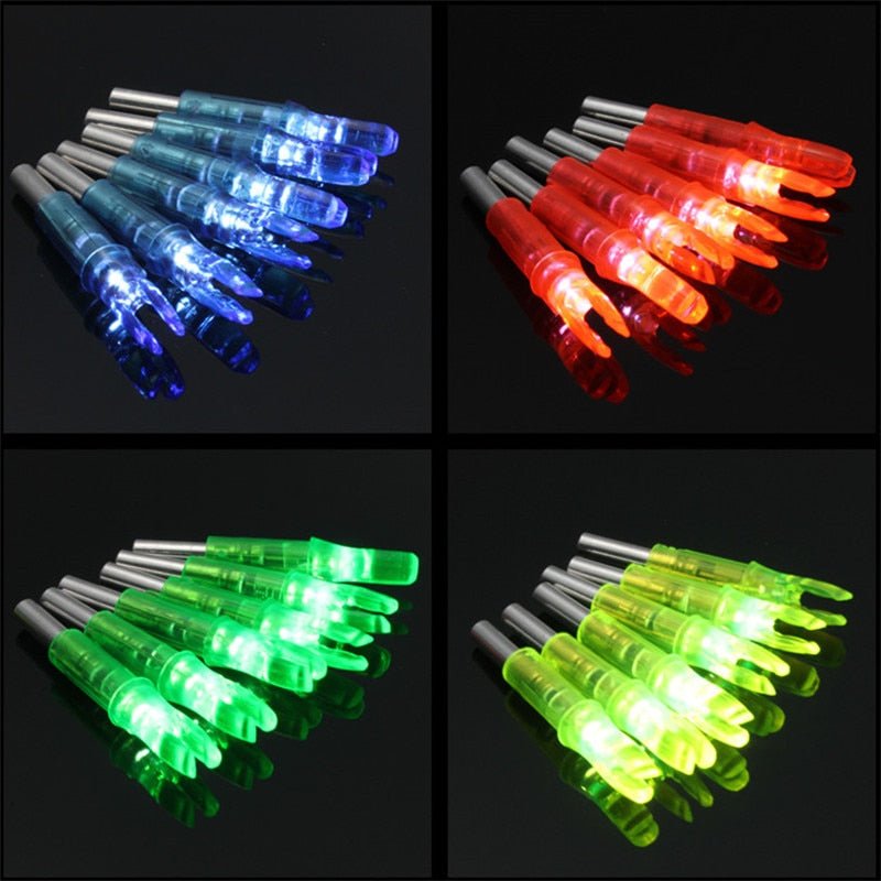 6pcs/lot Automatically ABS 44*6.2mm Led Lighted Arrow Nock