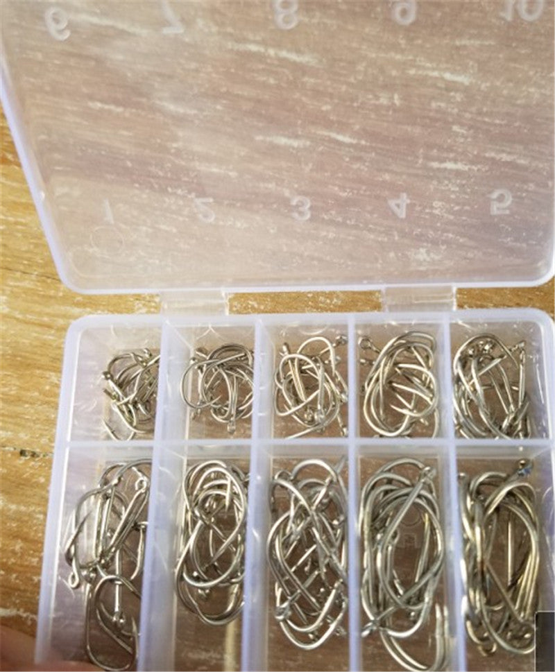 100Pcs/Box High Carbon Steel Gold/Silver Bait 10 Mixed Sizes 3#-12#