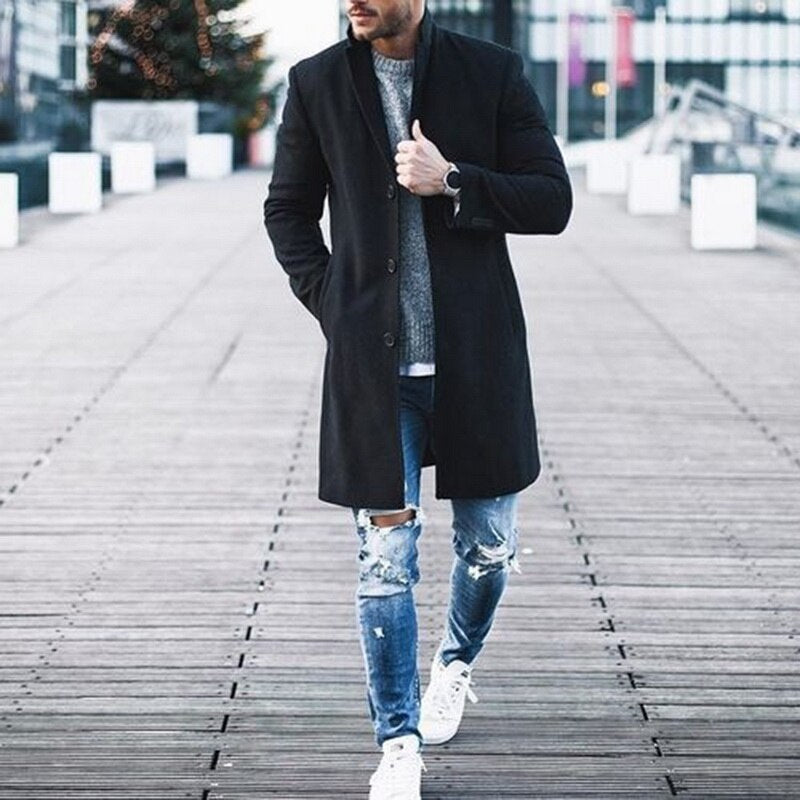 Winter  High-quality Wool Coat Casual Slim Collar