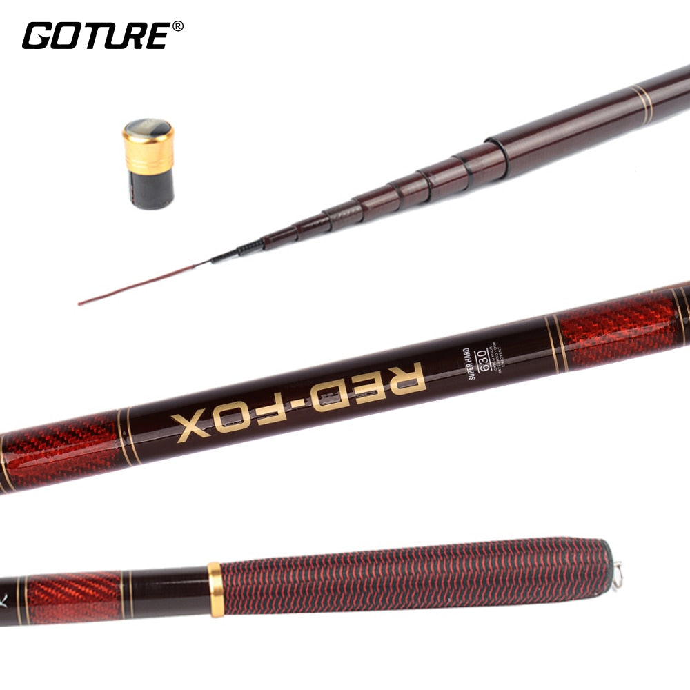 Goture RED FOX 9.84ft-23.6ft Carbon Fiber Telescopic Fishing Rod Ultra Light