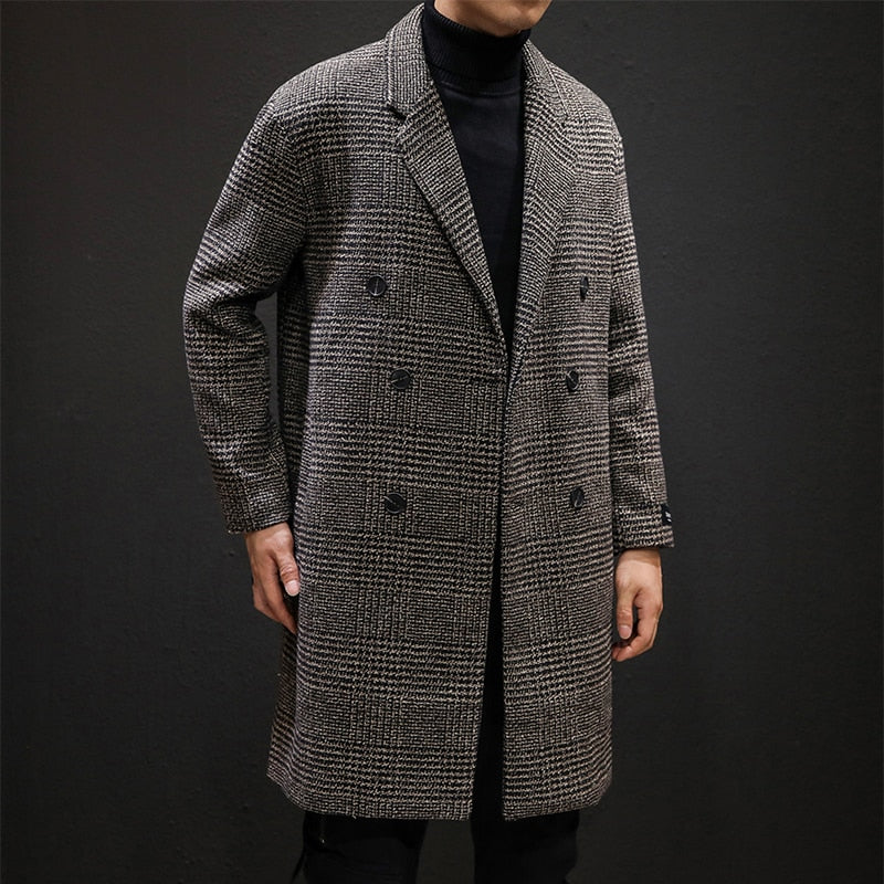 YASUGUOJI Casual Double Breasted Mens Wool Overcoat
