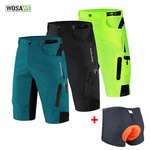 WOSAWE Men Padded Baggy Cycling Shorts Reflective