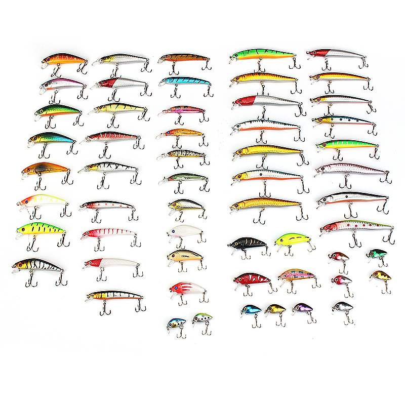 56pcs Carbon Steel Mixed Soft Fishing Lure, Bait Crank bait Tackle Bass Freshwater Crank Artificial Hard Bait Fishing Supplies