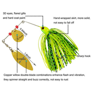 12Pcs Fishing Lures  Hard Metal Spinner Spinnerbait