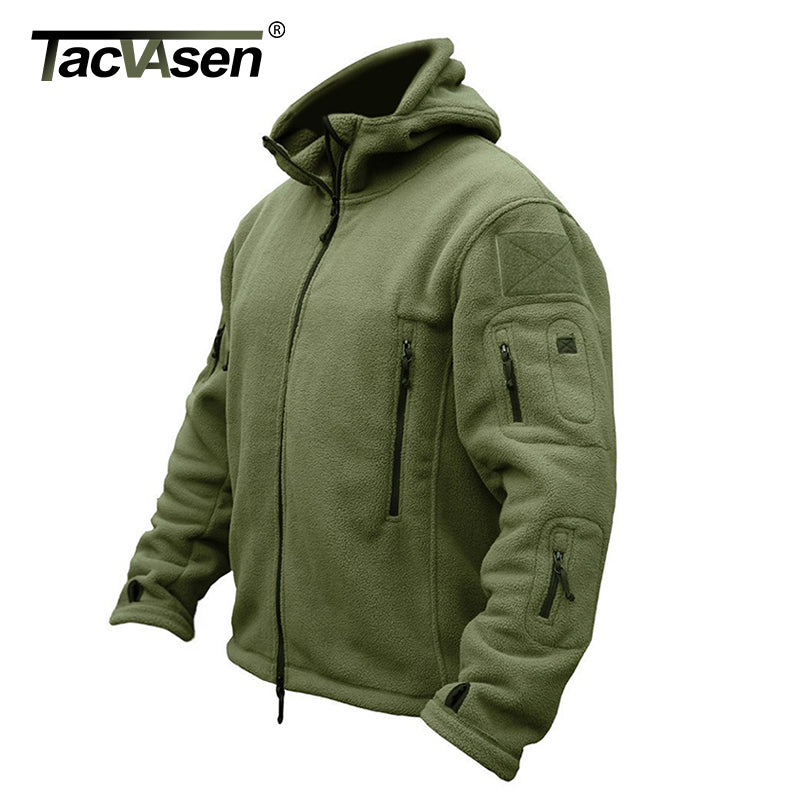 TACVASEN Winter Airsoft Military Jacket Men Fleece