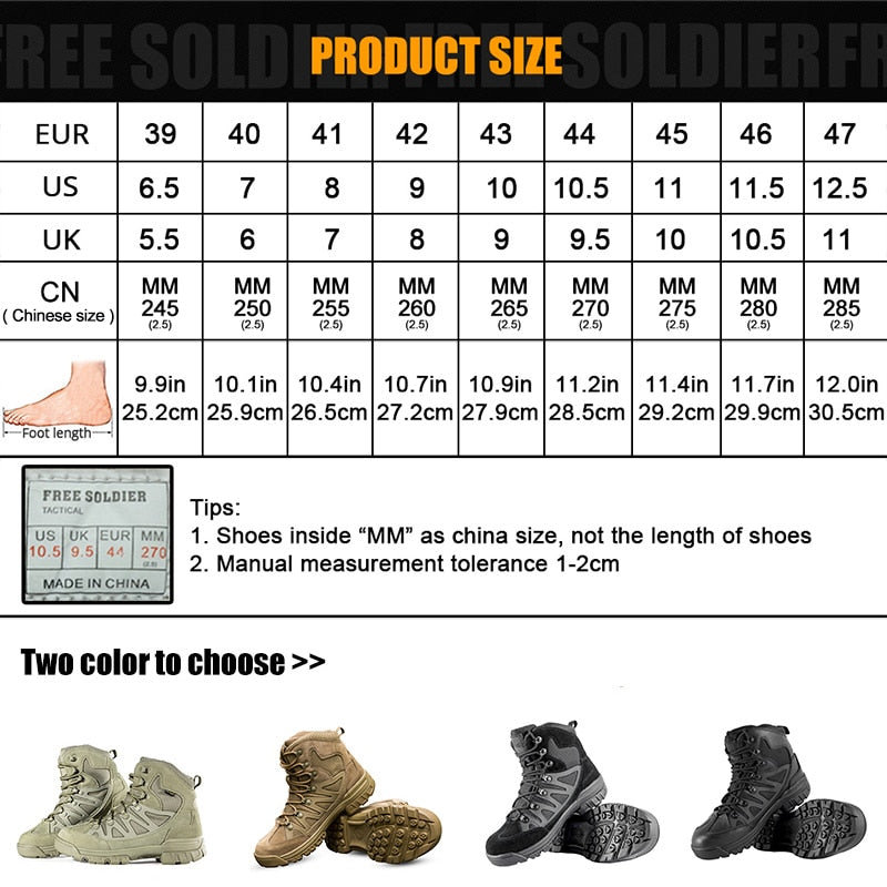 FREE SOLDIER ,Hiking Shoes For Mountainr, Camping,Climbing Imported Leather