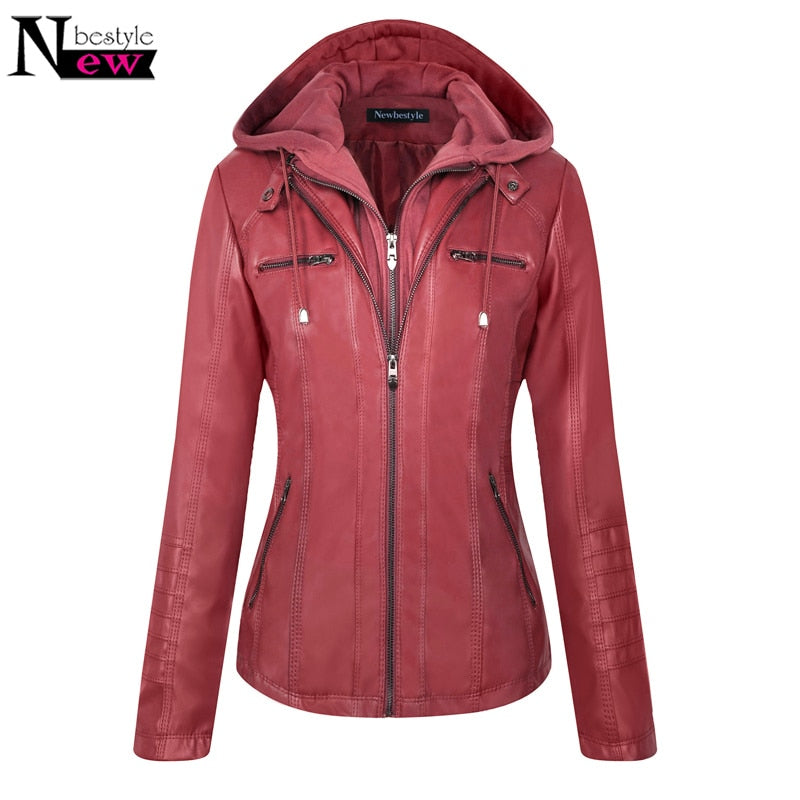 Fall Winter Fashion Women's Hooded Faux Leather Jacket