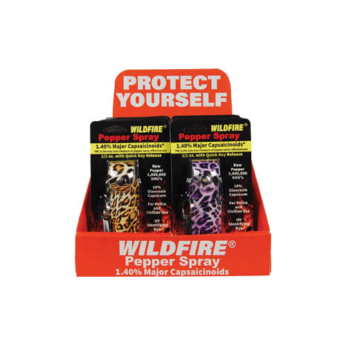 Wildfire 12 Fashion 1/2oz Leatherette Pepper Spray with Counter Display
