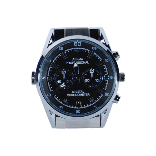 HD Hidden Watch Camera with Built-In DVR, Silver Case and Silver Band