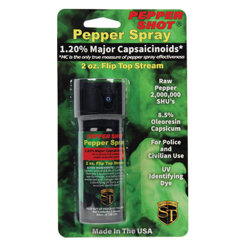 Pepper Shot 1.2% MC 2 oz pepper spray stream flip top