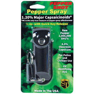 Pepper Shot 1.2% MC 1/2 oz pepper spray leatherette holster and quick release keychain black
