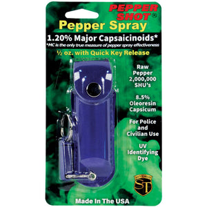 Pepper Shot 1.2% MC 1/2 oz pepper spray leatherette holster and quick release keychain blue