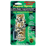 Pepper Shot 1.2% MC 1/2 oz fashion leatherette holster and Quick Release Key Chain leopard black/orange
