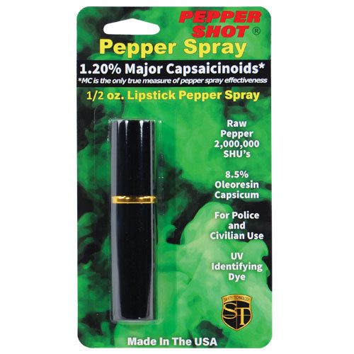 Pepper Shot 1.2% MC 1/2 oz lipstick pepper spray black