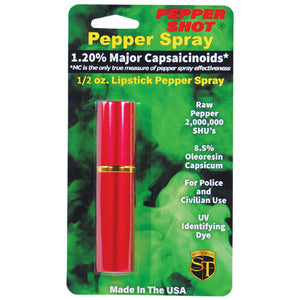 Pepper Shot 1.2% MC 1/2 oz lipstick pepper spray red