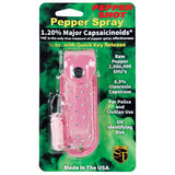Pepper Shot 1.2% MC 1/2 oz rhinestone leatherette holster and quick release keychain pink