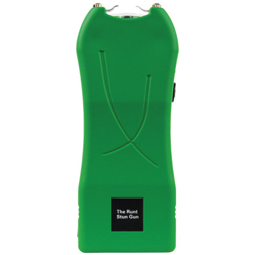 RUNT 20,000,000 volt Green Stun Gun with a flashlight and wrist strap disable pin.