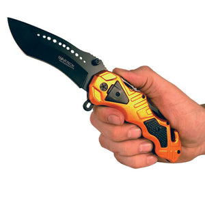 Tactical Folding Spring Assisted Rescue Knife Orange Color