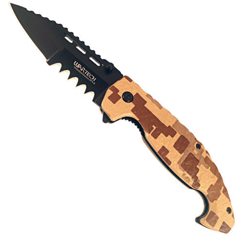 Folding Spring Assisted Brown Digital Camo Knife.