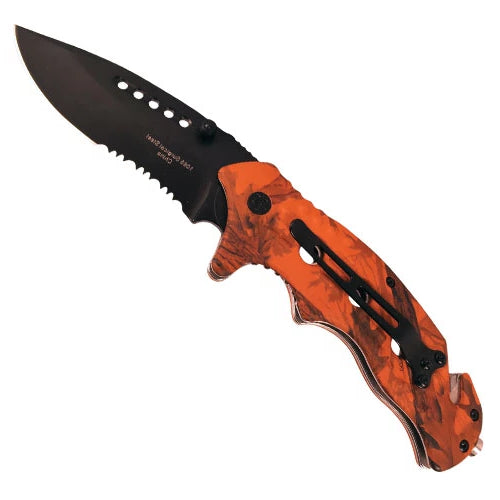 Folding Spring Assisted Orange Camo Knife