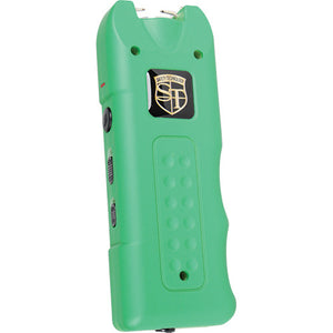 20,000,000 volt MultiGuard Stun Gun Alarm and Flashlight with Built in Charger Green