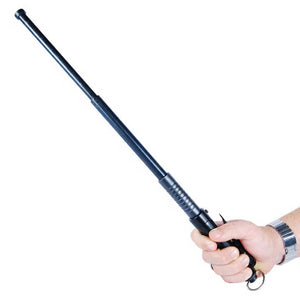 "Automatic Expandable 20.5"" Steel Baton Black Handle"