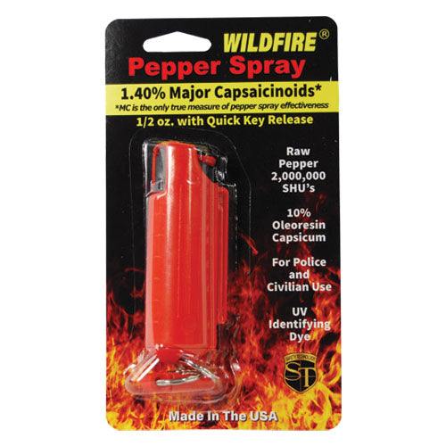 Wildfire 1.4% MC 1/2 oz pepper spray hard case with quick release keychain red